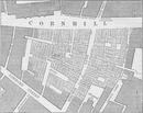 CORNHILL. Plan showing the extent of the Great Fire in 1748. London c1880 map
